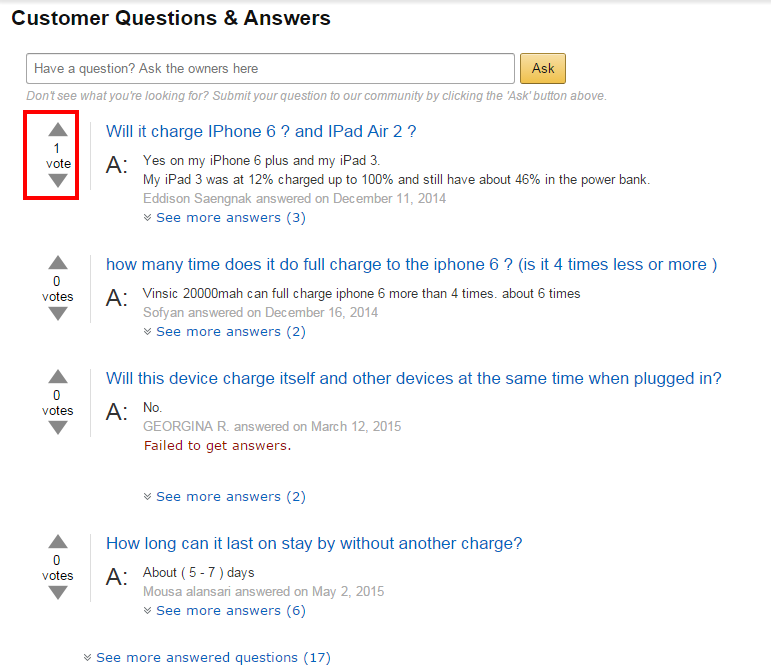 answered questions section